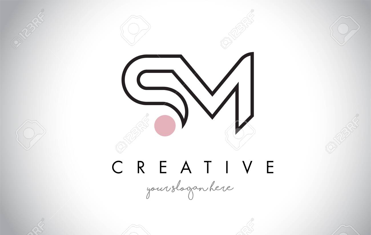 SM Letter Logo Design with Creative Modern Trendy Typography and Black Colors. - 133775216