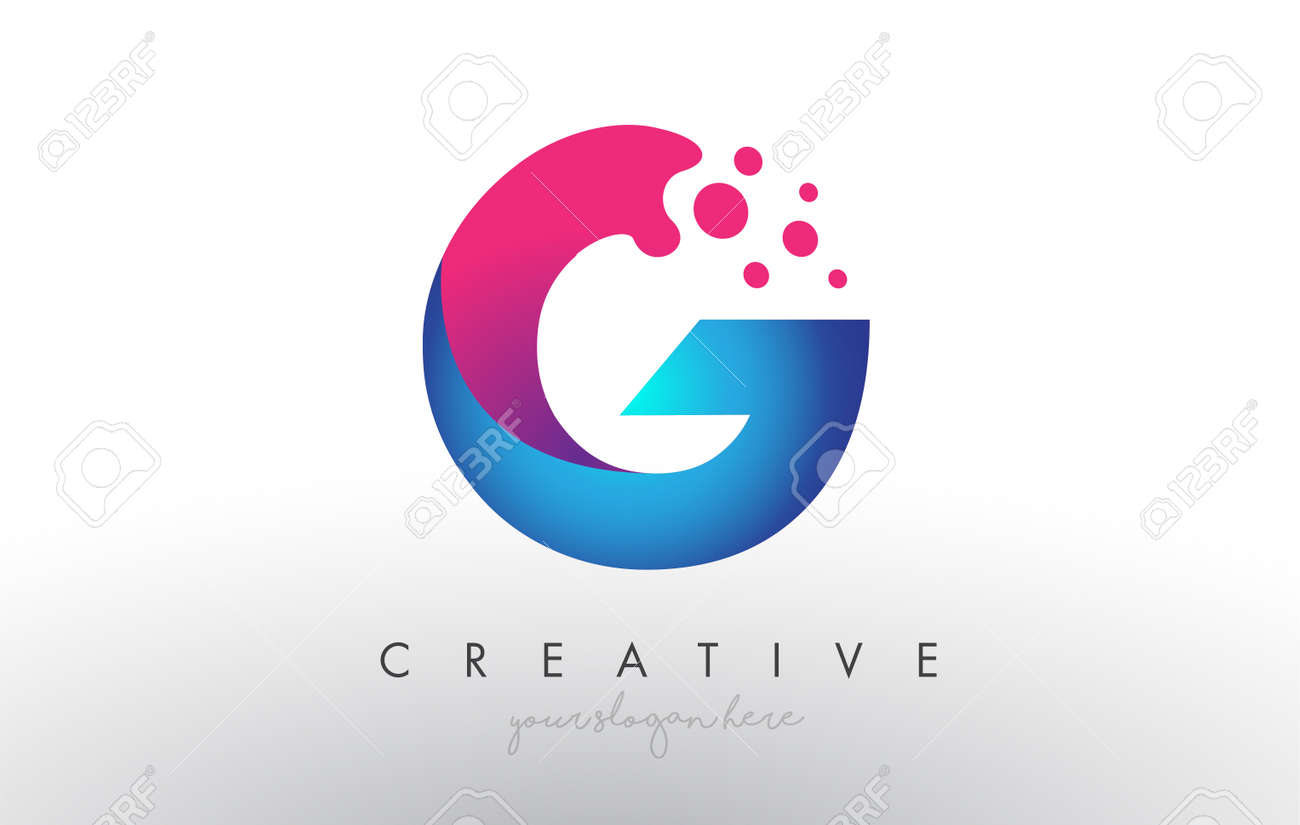 G Letter Design with Creative Dots Bubble Circles and Blue Pink Colors Vector Illustration. - 158736459