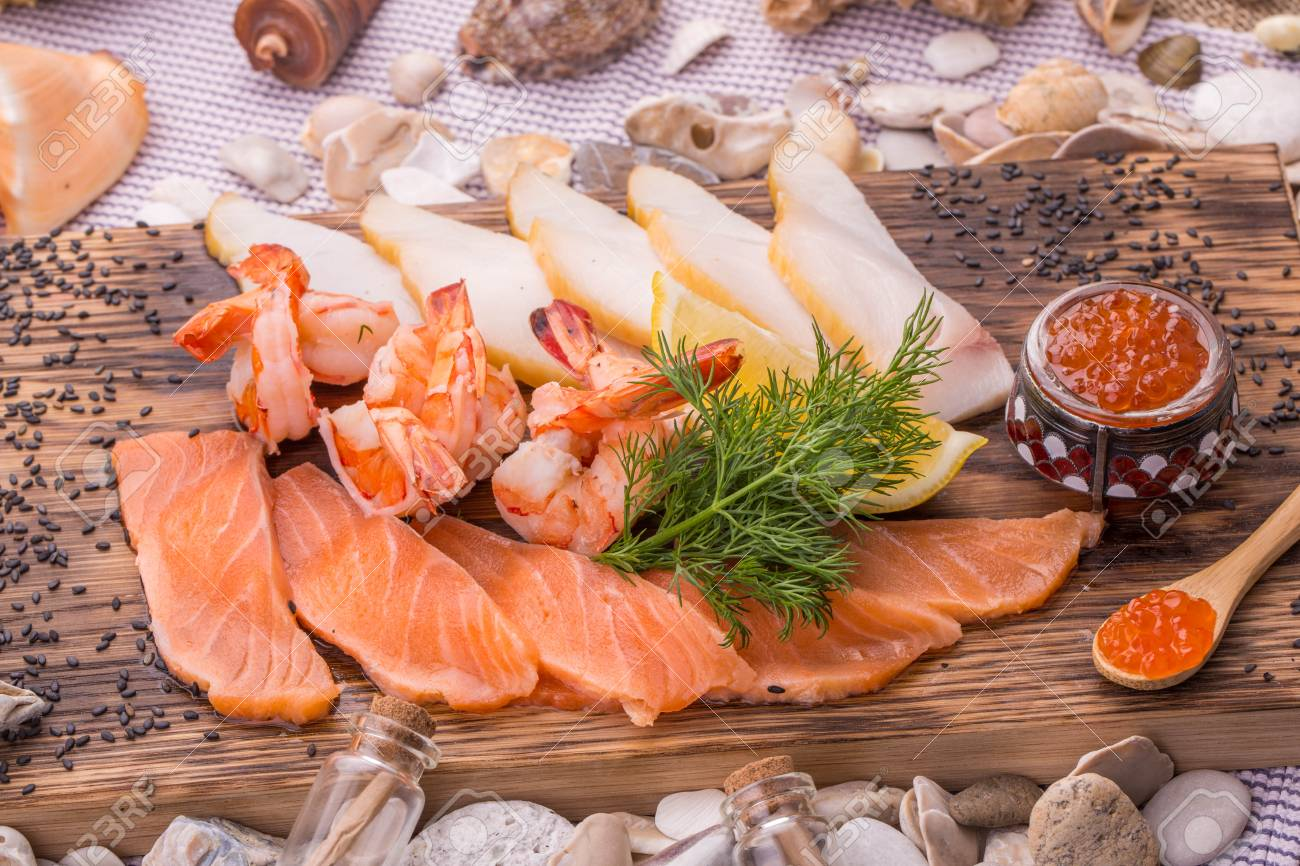 A Fish Plate With Smoked Fish A Light Salted Salmon And Tiger Stock Photo Picture And Royalty Free Image Image 75962156
