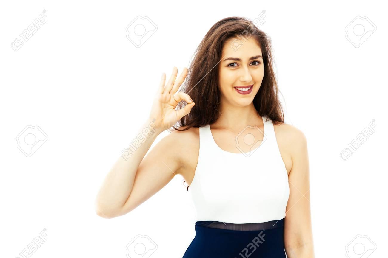 Schöne Junge Frau Kaukasischen In Sportlich Elegante Kleidung Ok
