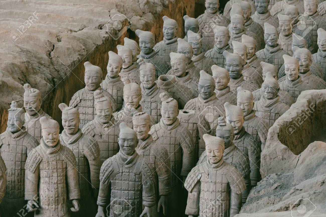 Close-up of famous Terracotta Army of Warriors in Xian, China Stock Photo - 70292046