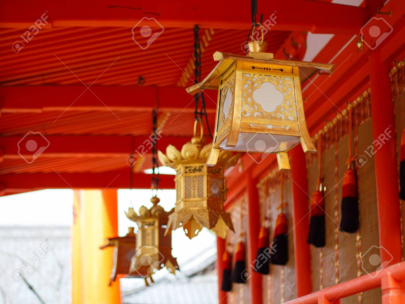 Japan Lamp Gold In The Temple Traditional Japanese Lantern Stock