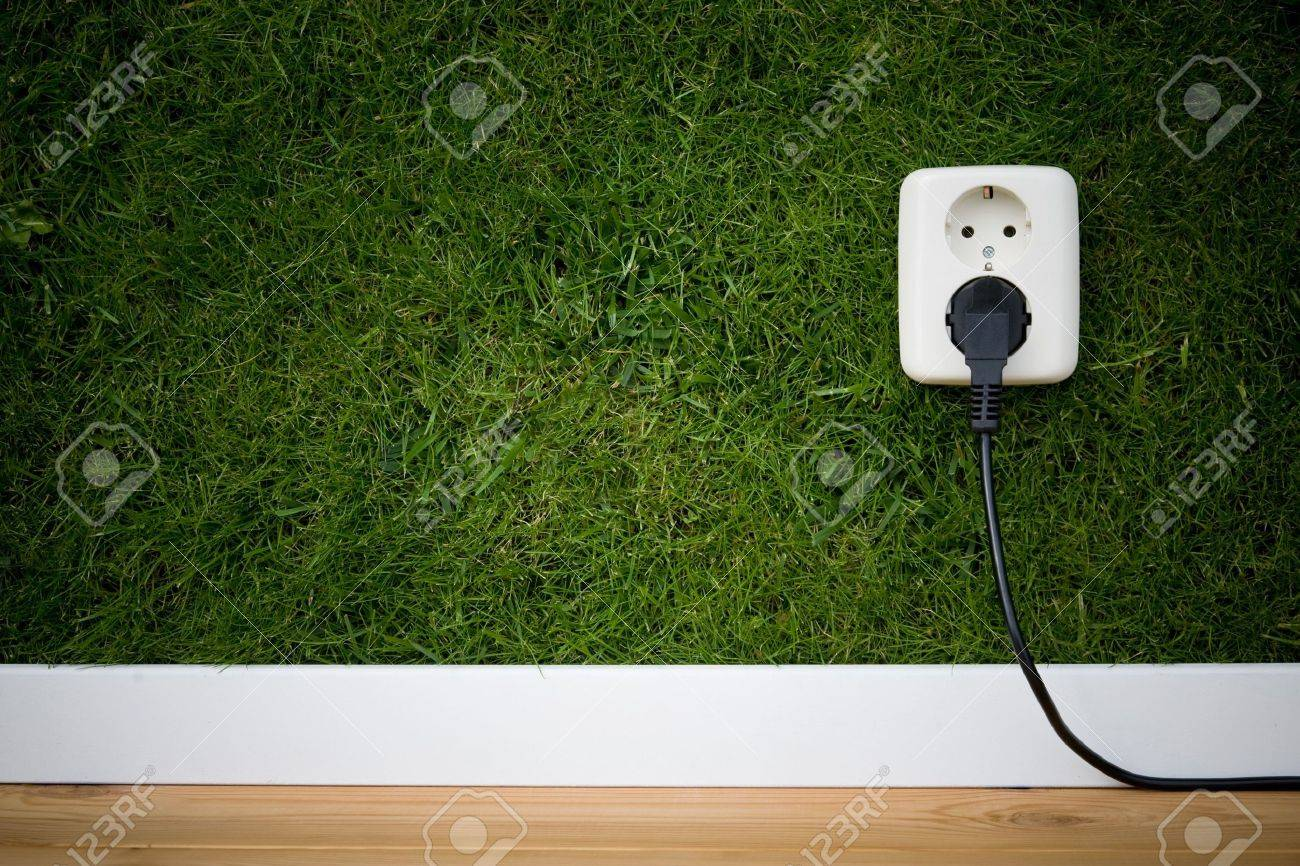 energy concept outllet in grass Stock Photo - 3650293