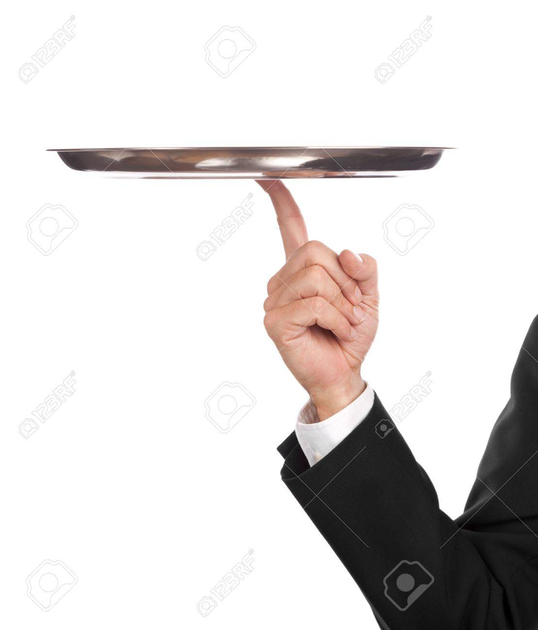 waiter with empty tray, balancing on one finger Stock Photo - 5670150