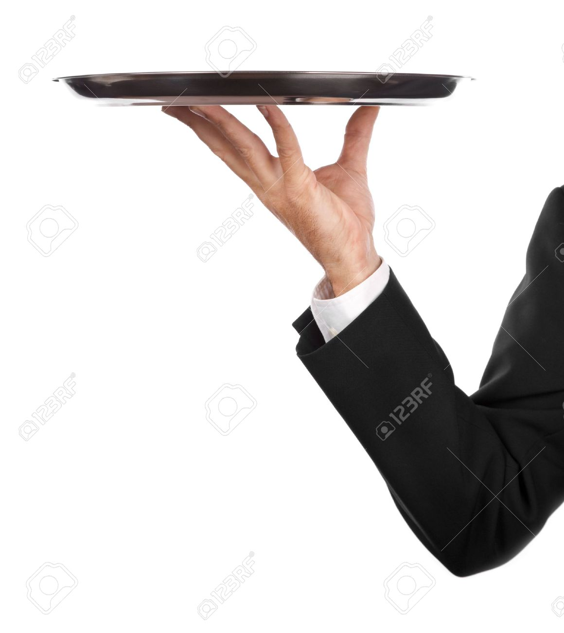 Stock Photo - waiter with an  Waiters Serving Tray