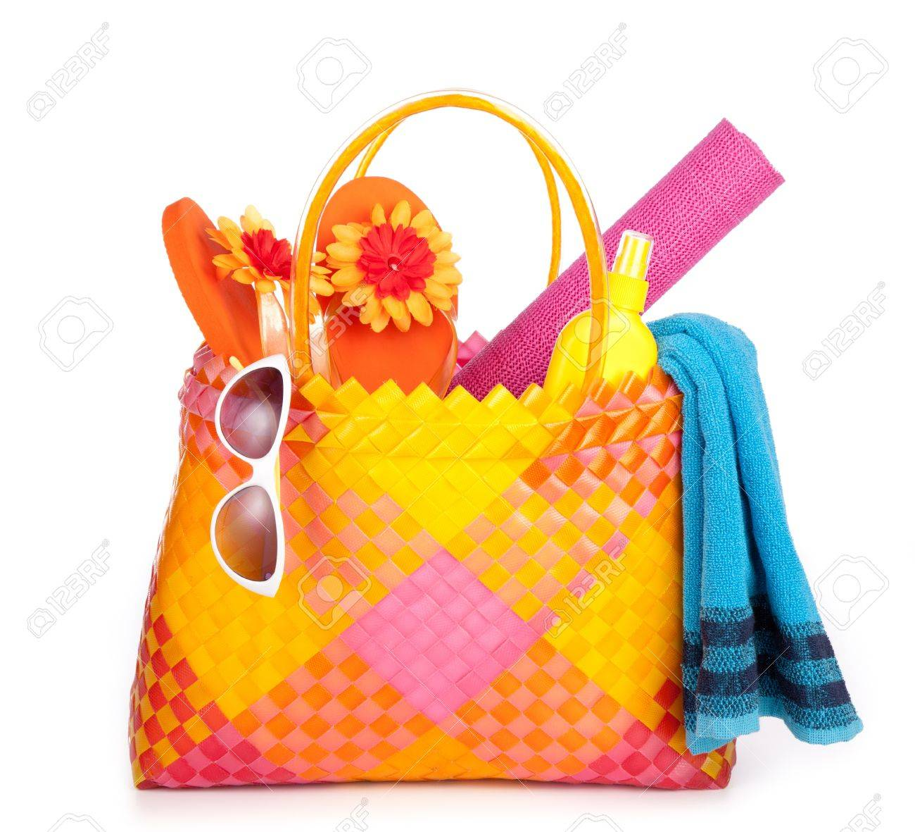 Beach Bag Items Stock Photo, Picture And Royalty Free Image. Image ...