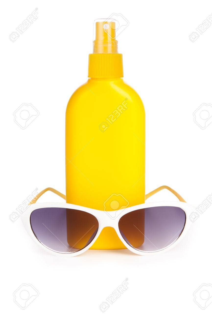 sunblock cream and sunglasses. isolated on a white background with a smooth reflection Stock Photo - 9114099