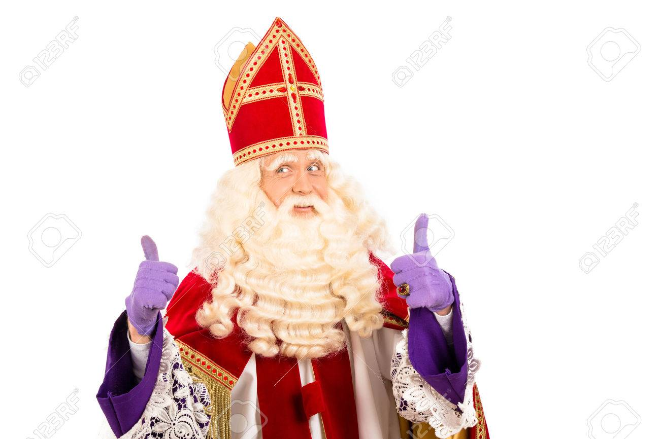 Sinterklaas portrait.Showing okay. isolated on white background. Dutch character of Santa Claus - 28350919