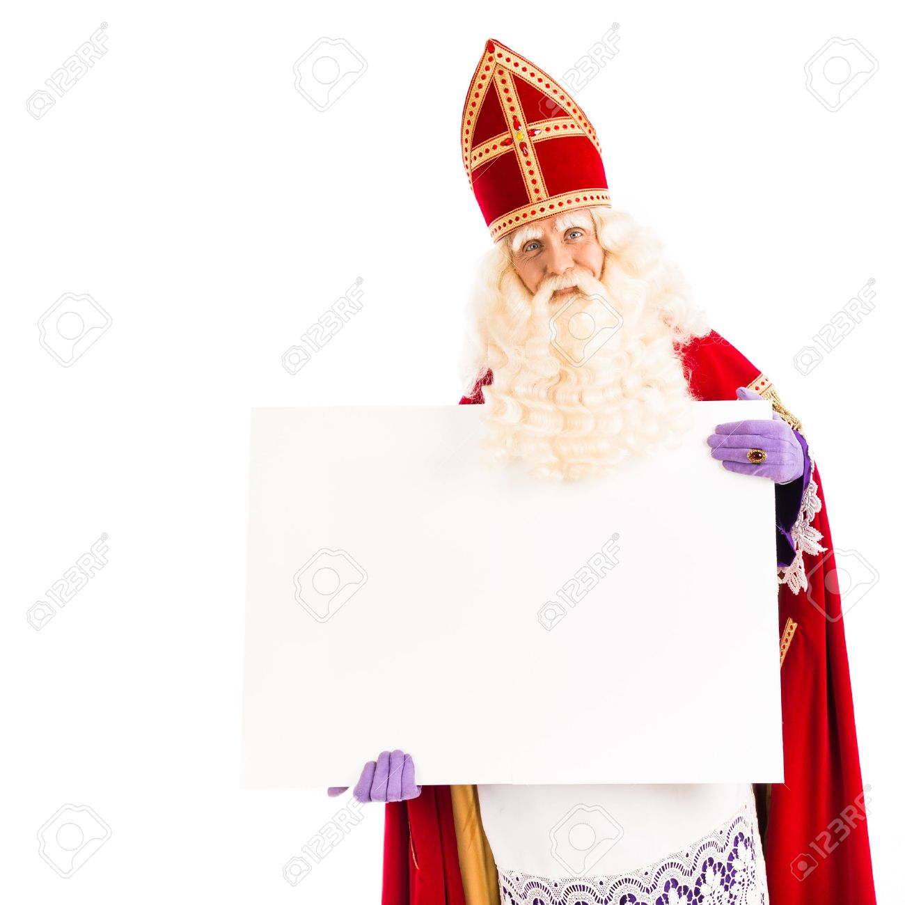 Sinterklaas with empty card. isolated on white background. Dutch character of Santa Claus - 31056690