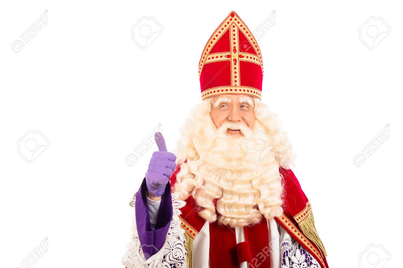 Sinterklaas portrait.Showing okay. isolated on white background. Dutch character of Santa Claus - 31287693