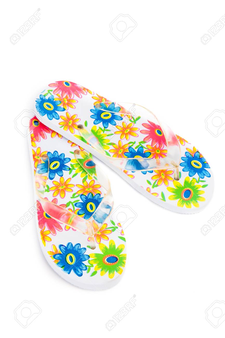 d8a46fdea201 colorful flip-flops with flowers isolated on white background Stock Photo -  33813102