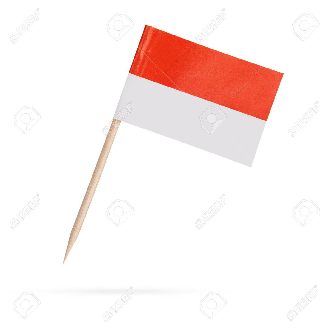 Miniature paper flag Indonesia. Isolated Indonesian Flag on white background.With shadow below - 35790456
