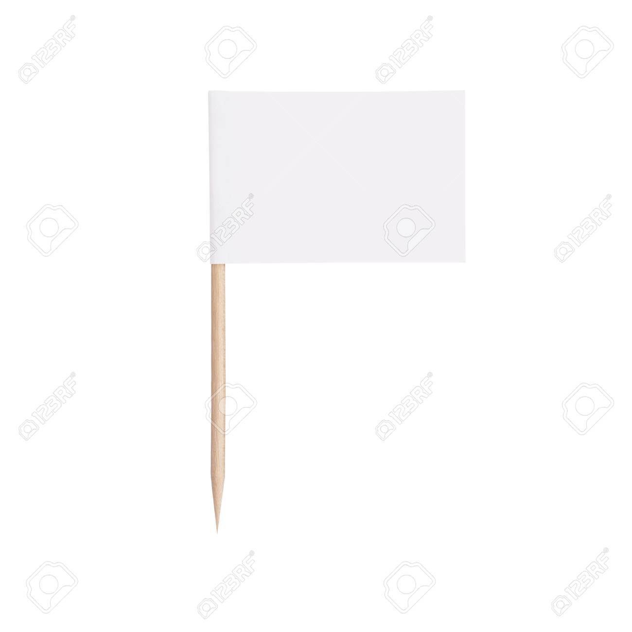 white paper flag. Ready for a Message. Isolated on white background.With clipping path - 36365695