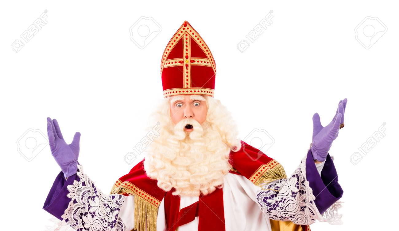 Sinterklaas looking down with hands up. isolated on white background. Dutch character of Santa Claus - 44127079