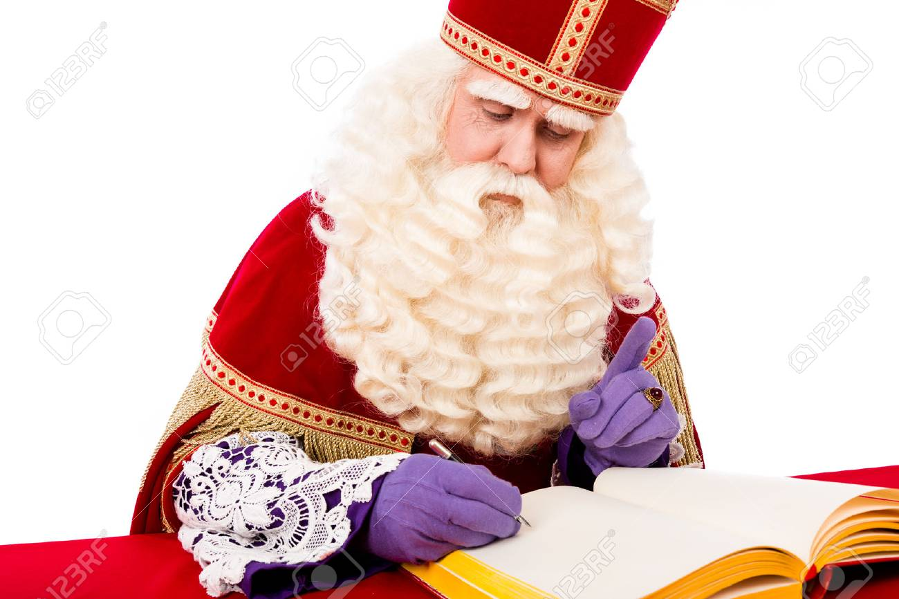 Sinterklaas with book . isolated on white background. Dutch character of Santa Claus - 44675589