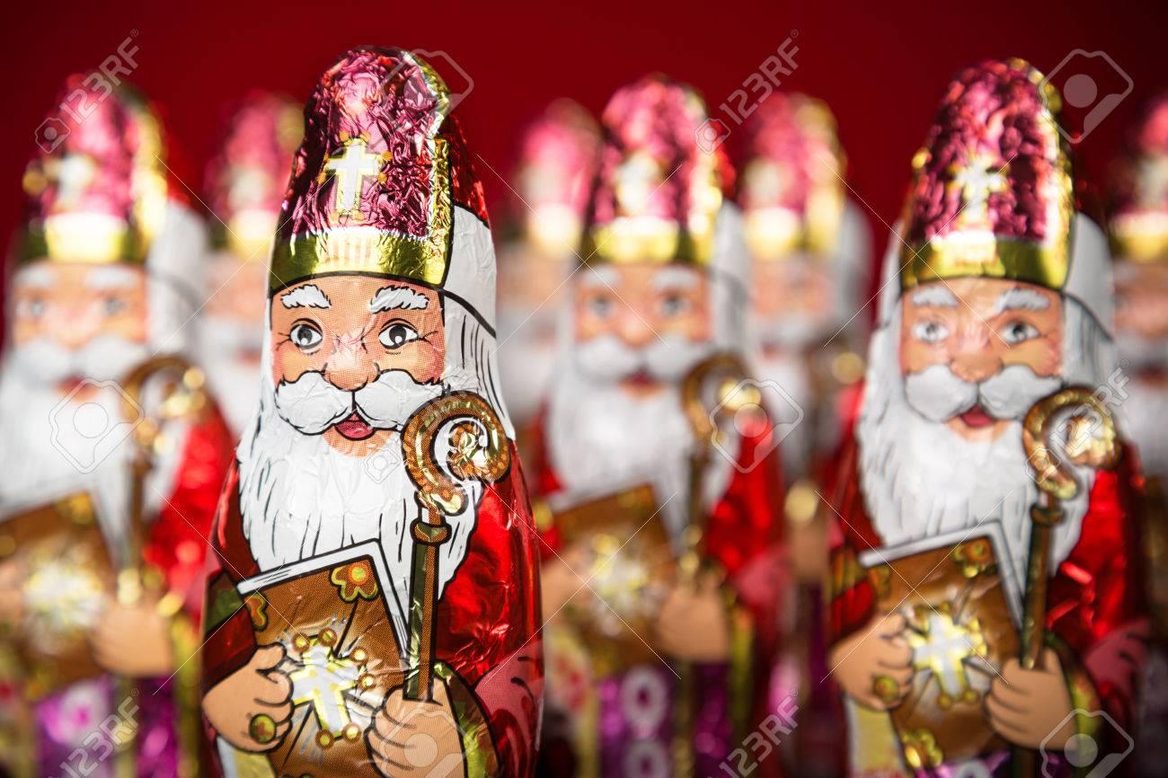 Close-up of Sinterklaas. Saint Nicholas chocolate figurine of Dutch character of Santa Claus - 44675659