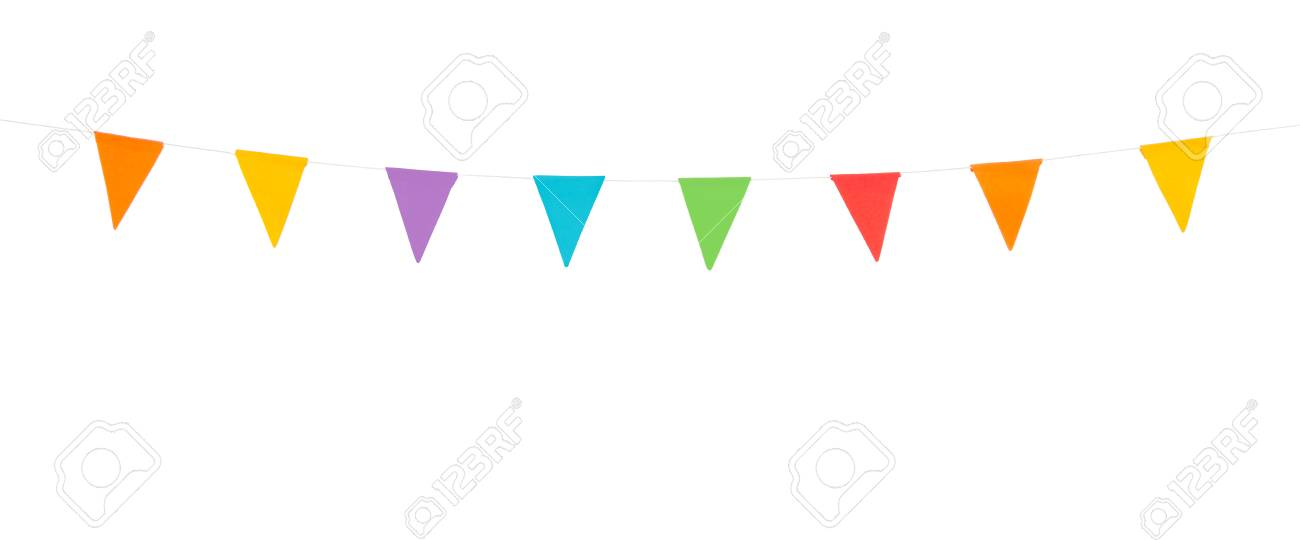 colorful party flags on a line made of paper isolated on white background - 78927257