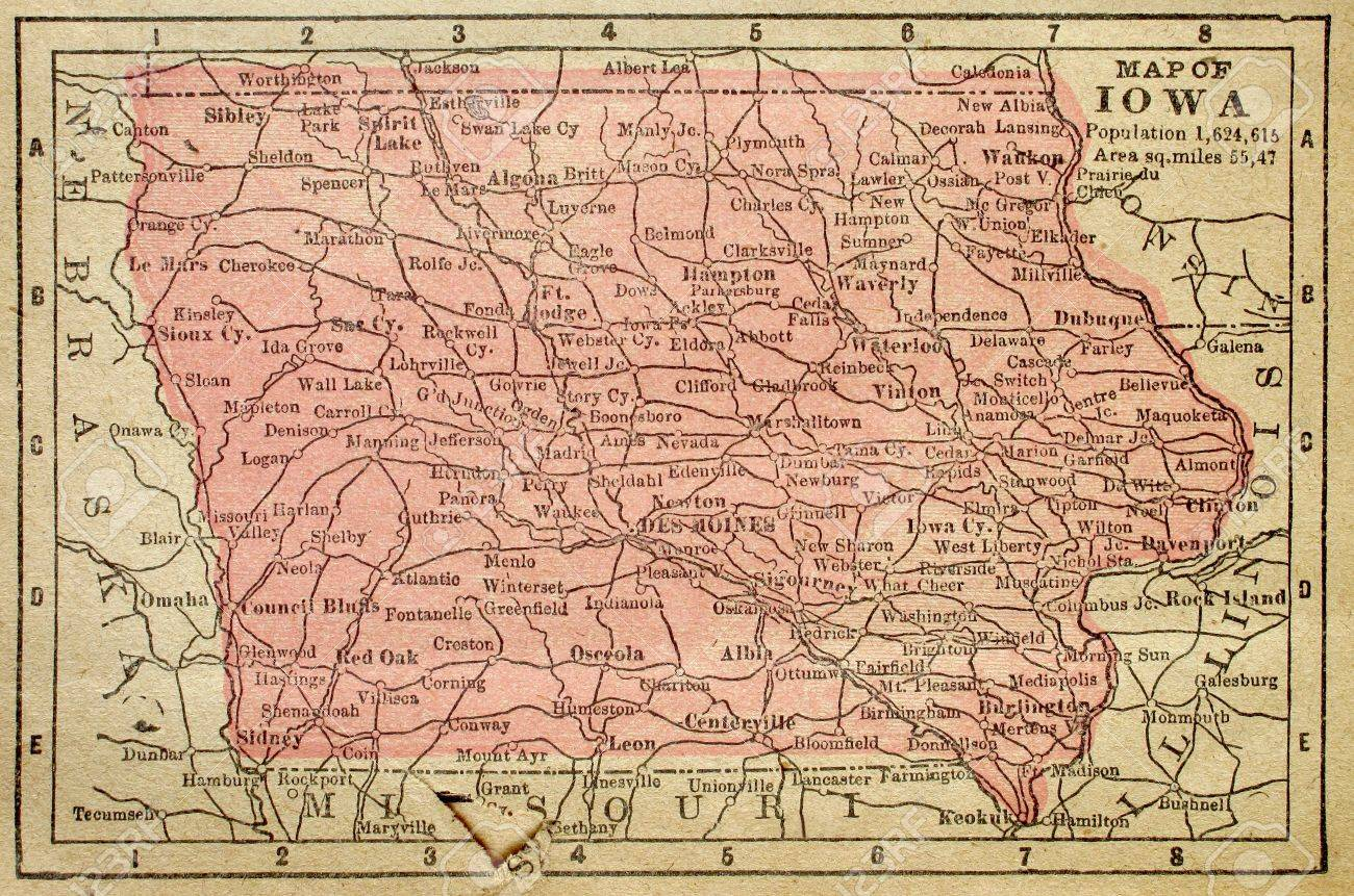 Old Iowa Map.Old Map Of Iowa From 1880 Showing Population Of Just Over One