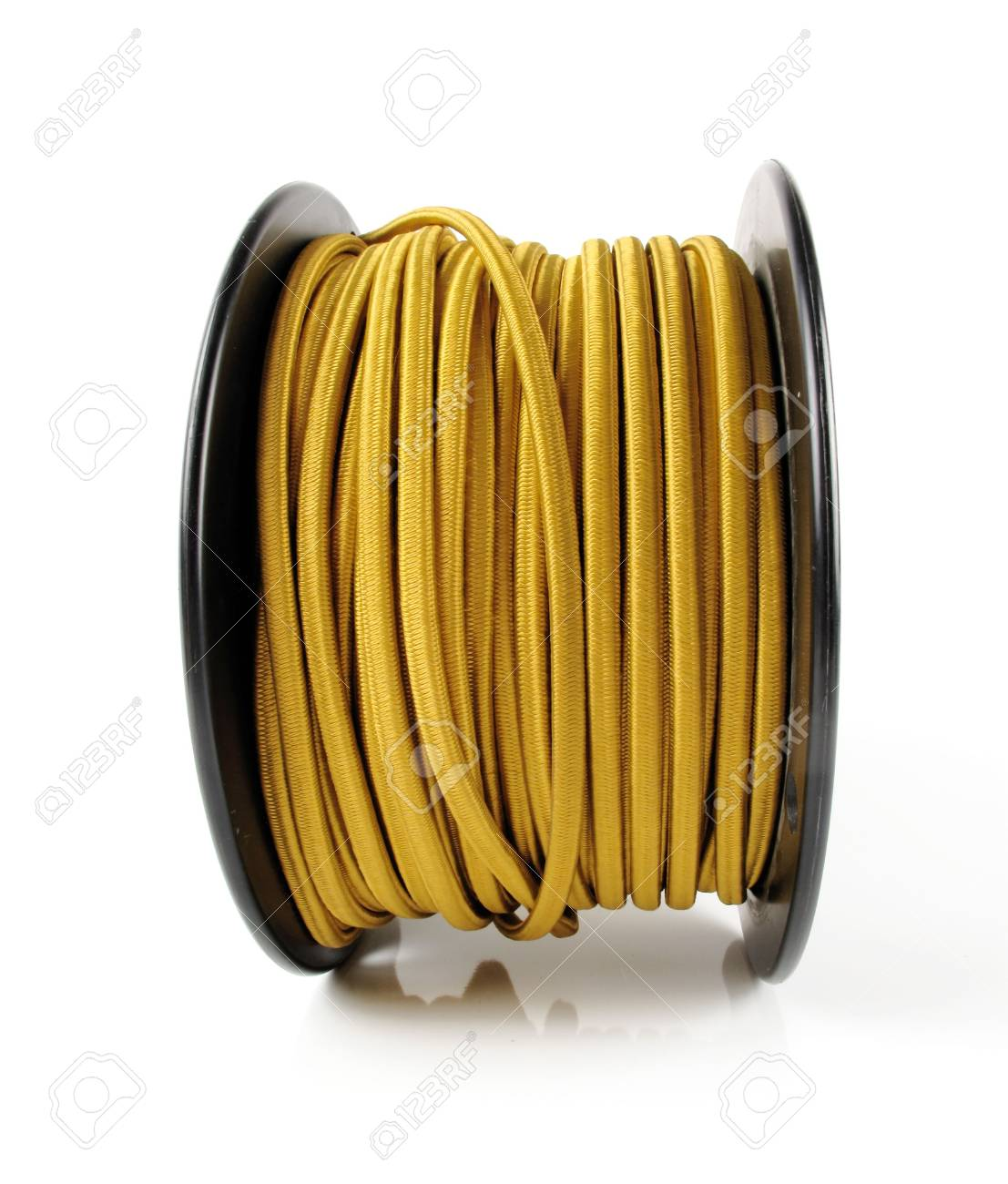 Large spool of yellow wiring primarily used in vintage restoration on