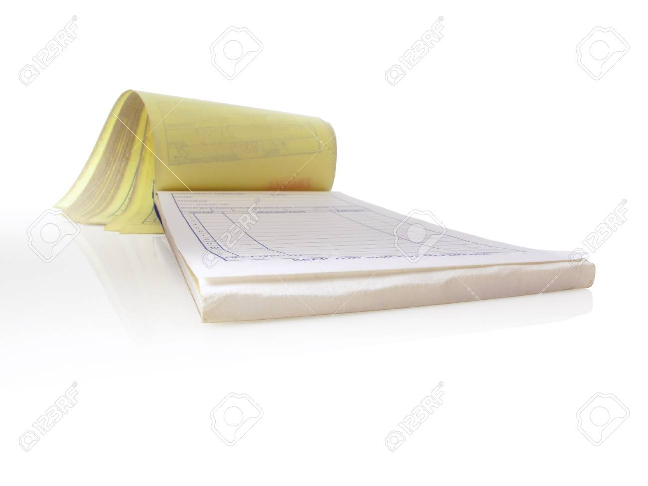 Receipt Pad, Isolated And Open To A Blank Page Stock Photo ...