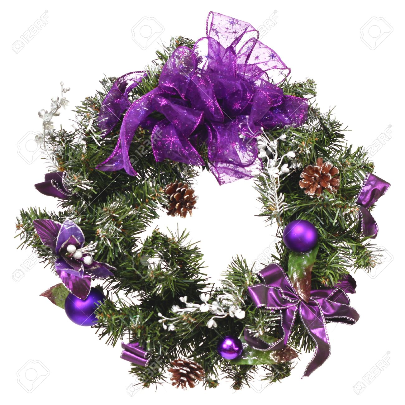 stock photo unique small christmas wreath with purples isolated on white - Small Christmas Wreaths