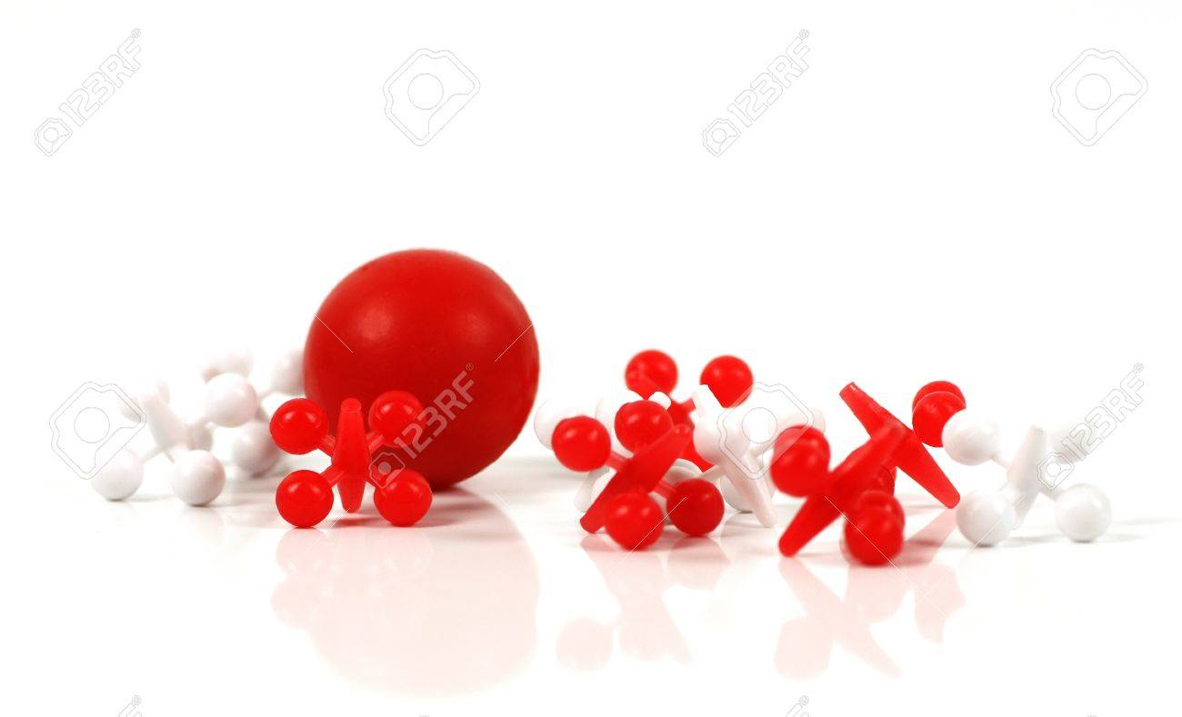 Game of jacks in red and white on white background Stock Photo - 14805814