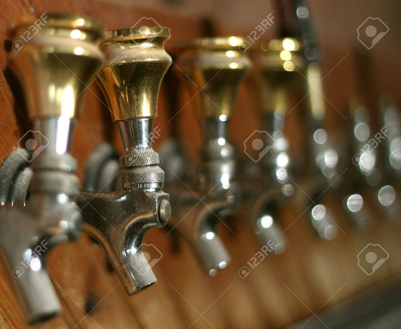 Row Of Dusty Old Beer Taps In An Abandoned Bar Stock Photo, Picture ...