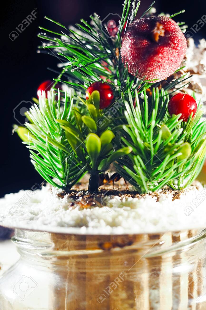 Happy New Year Artificial Bonsai Tree Christmas Composition Background Stock Photo Picture And Royalty Free Image Image 136402909