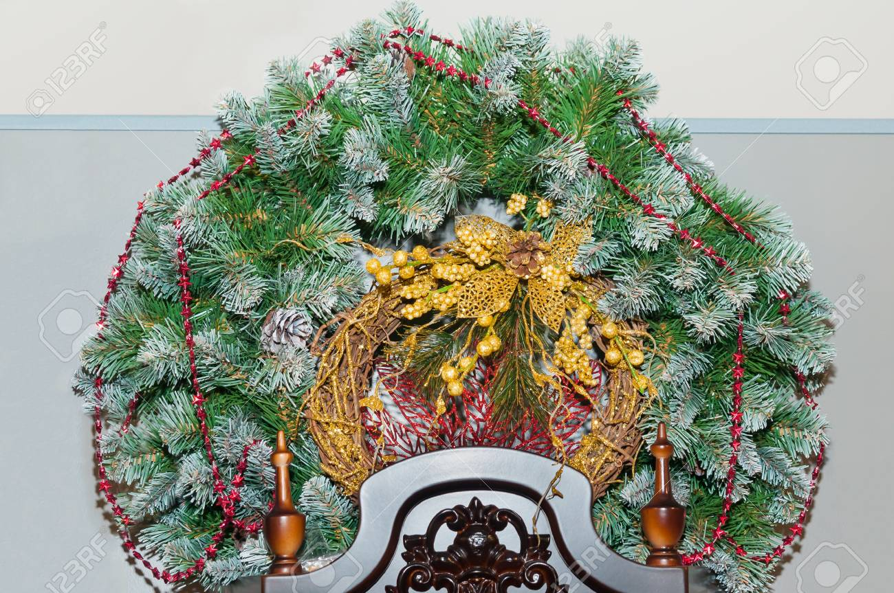 Christmas Wreath On A Light Background Stock Photo Picture And