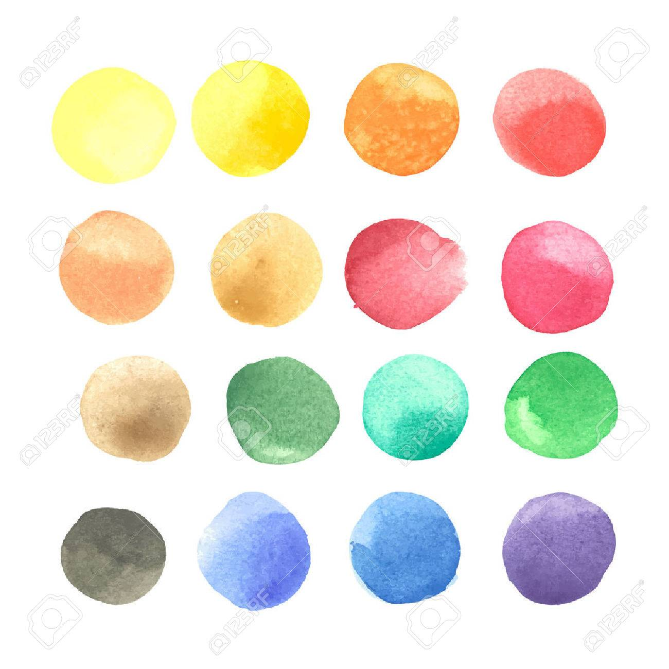 colorful watercolor blots isolated on white background - 51948984