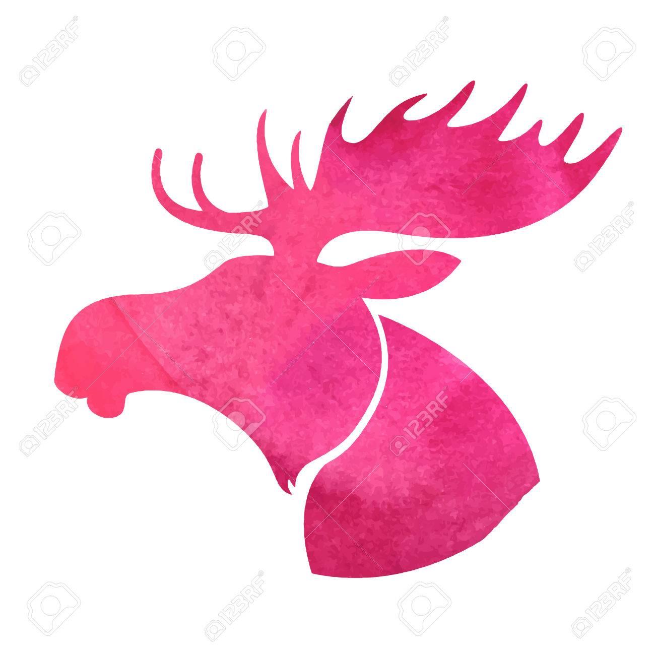 moose head watercolor silhouette royalty free cliparts vectors  - moose head watercolor silhouette stock vector