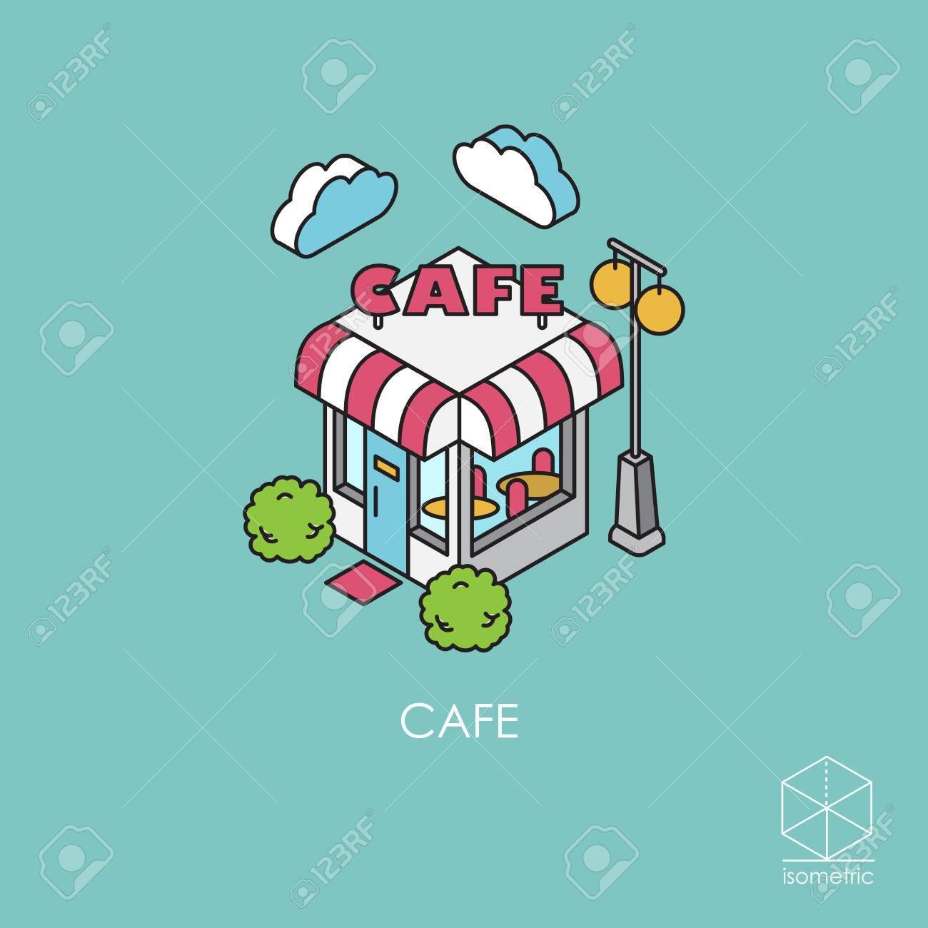 Isométrique icon cafe Banque d'images - 53256150