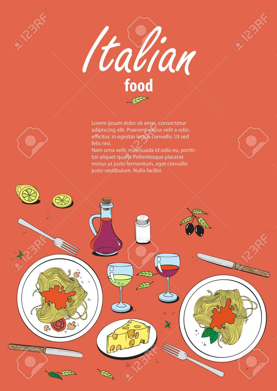 Vector Cooking Banner Template With Hand Drawn Objects On Italian Royalty Free Cliparts Vectors And Stock Illustration Image 56744120