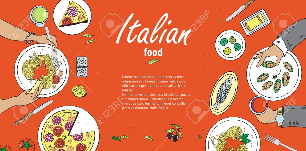Vector Cooking Banner Template With Hand Drawn Objects On Italian Royalty Free Cliparts Vectors And Stock Illustration Image 56744127