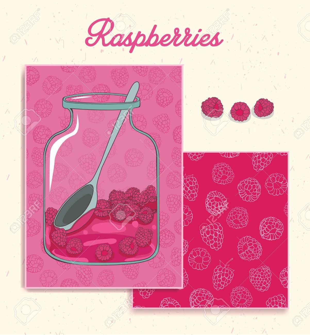 Greeting Card Raspberry Branding Design Raspberry Design Set