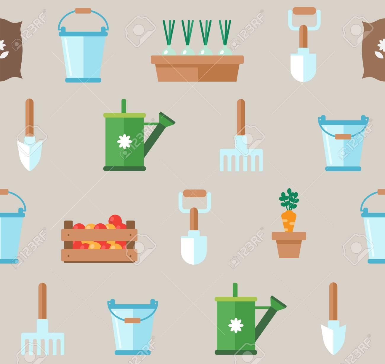 Seamless pattern of gardening tools  Vegetable garden planner