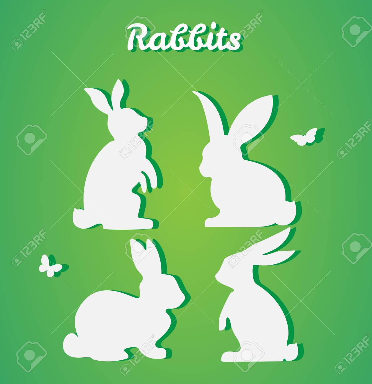 Set Of Easter Rabbits Vector Silhouette Paper Art And Craft Royalty Free Cliparts Vectors And Stock Illustration Image 71384243