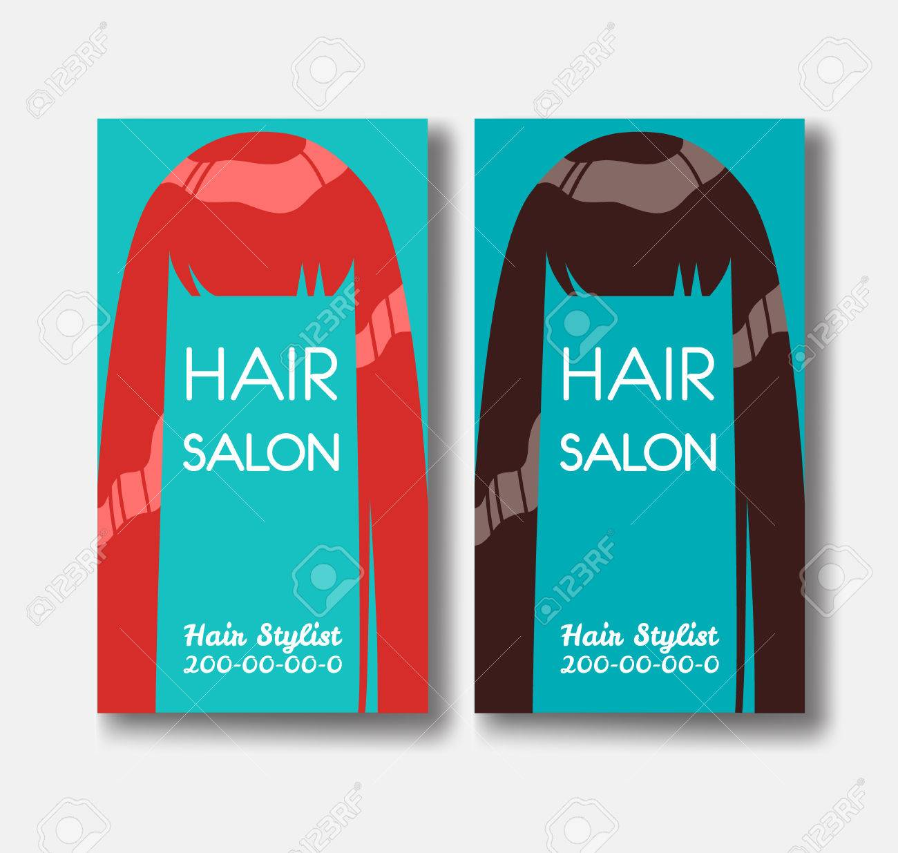 Hair salon business card templates with red hair and brown hairo hair salon business card templates with red hair and brown hairo stock vector 76074280 fbccfo Images