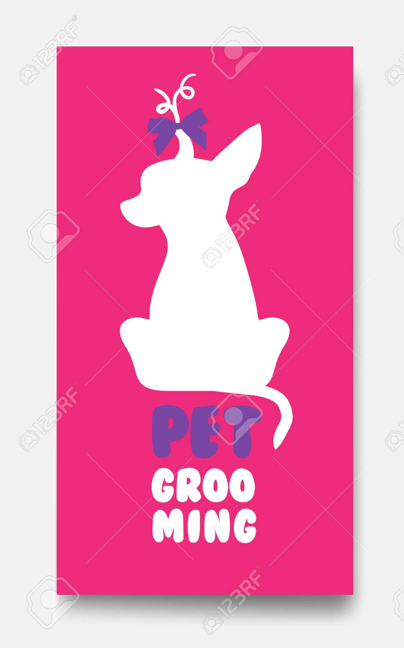 Business Card Template Of Pet Grooming With Little Sitting Dog C ...