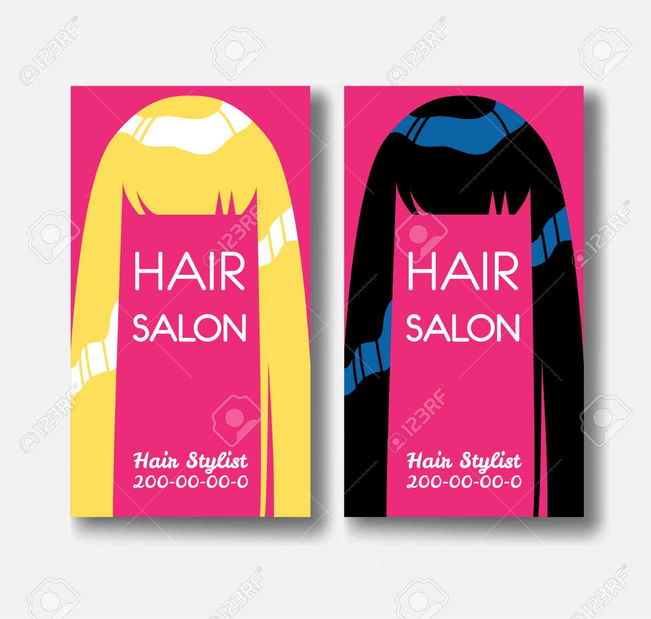 Hair salon business card templates with blonde hair and black hair salon business card templates with blonde hair and black ha stock vector 78080045 wajeb