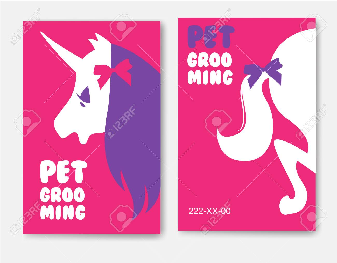 Business Cards Templates Of Grooming Service Pet With Unicorn ...