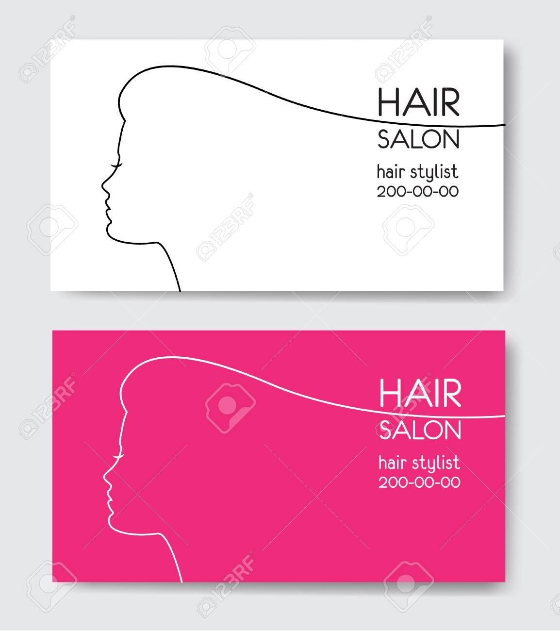Hair Salon Business Card Templates With Beautiful Woman Face