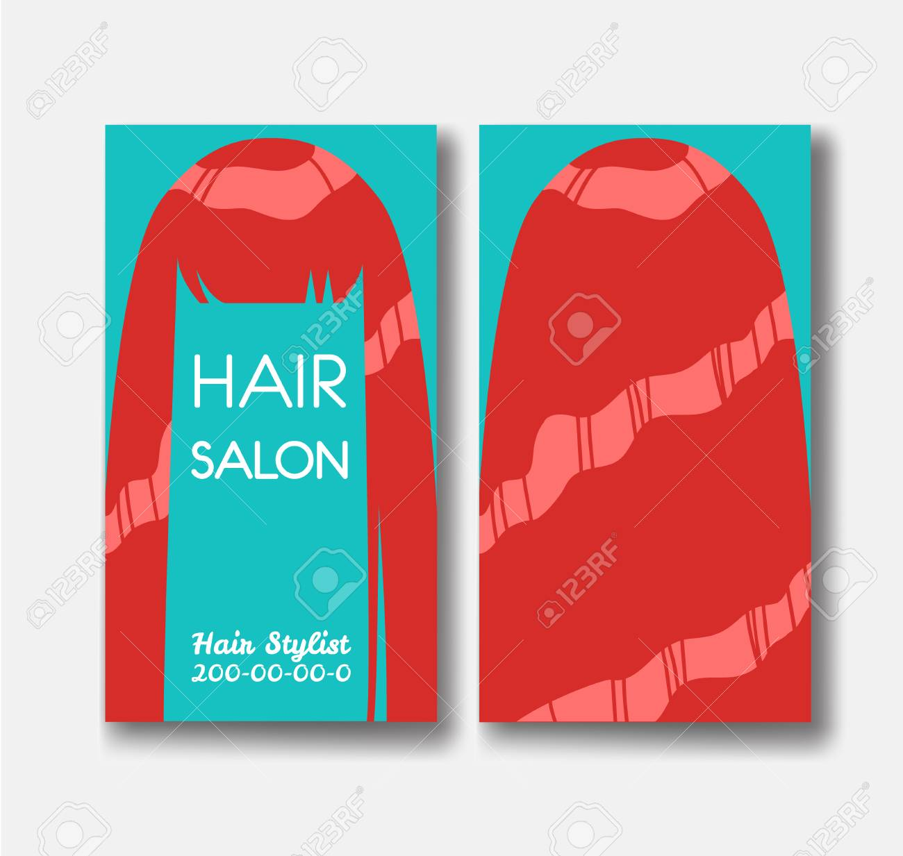 Hair salon business card templates with red hair on green backgr hair salon business card templates with red hair on green backgr stock vector 88430721 flashek Gallery