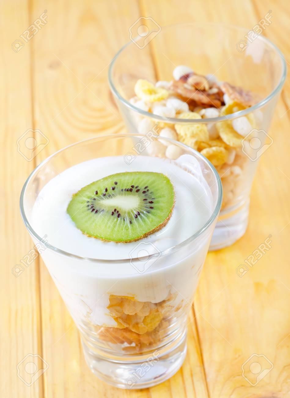 fresh yogurt and muesli in a glass Stock Photo - 17248612