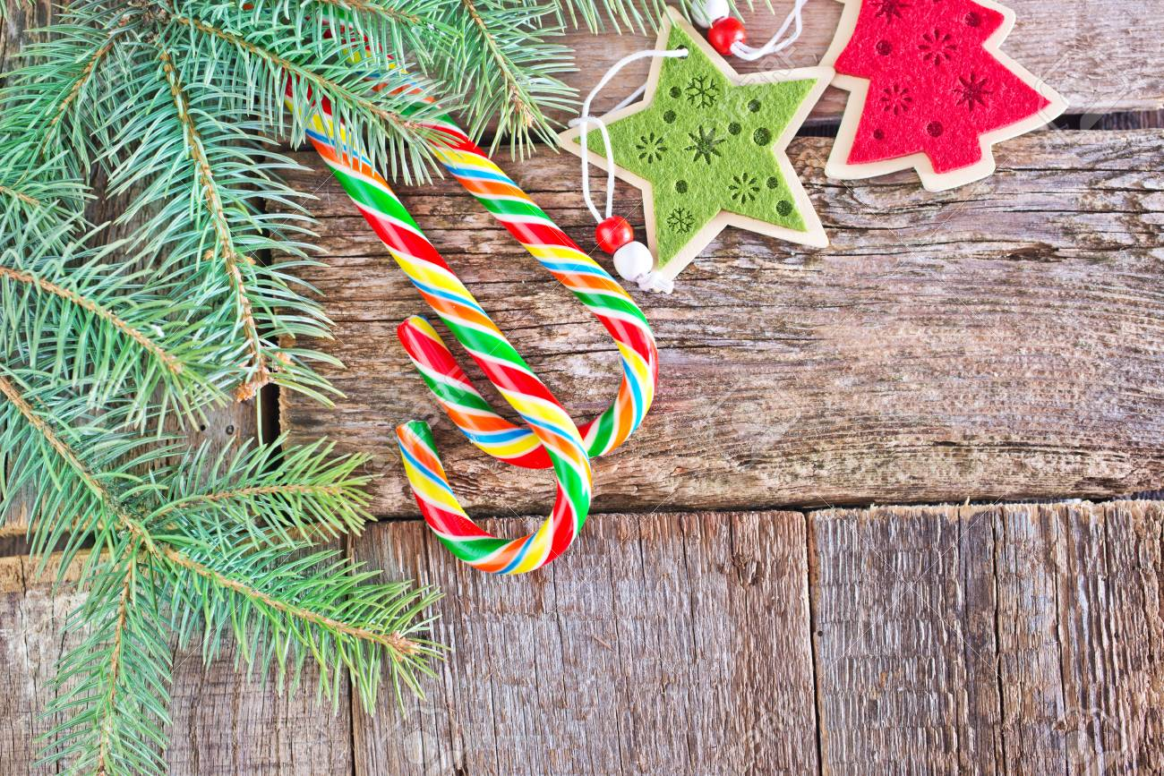 Brunch Of Christmas Tree And Color Candy On Wooden Background Stock Photo Picture And Royalty Free Image Image 34815775