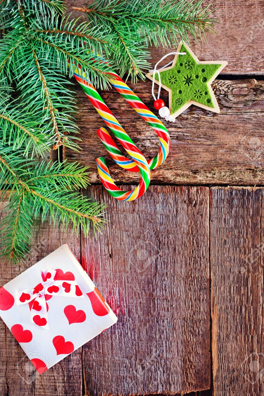 Brunch Of Christmas Tree And Color Candy On Wooden Background Stock Photo Picture And Royalty Free Image Image 43371933