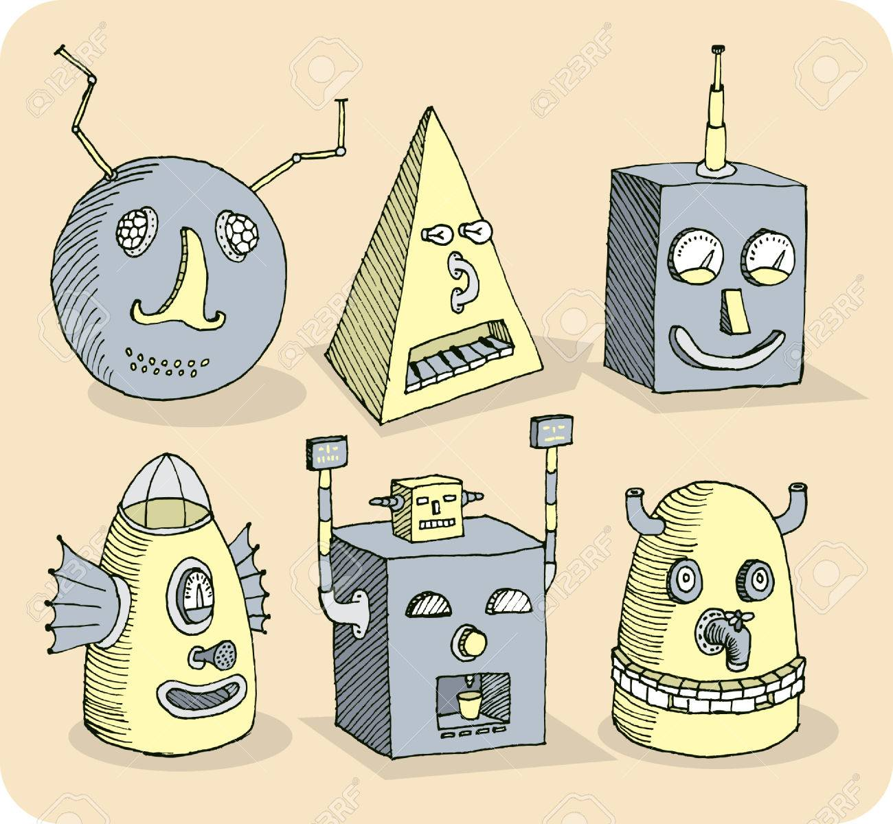 Several old-school robot heads Stock Vector - 28037442