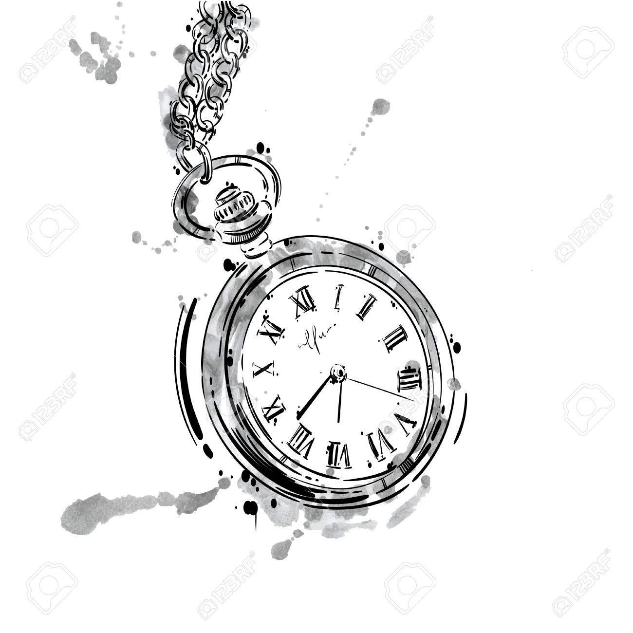 Archivio Fotografico , Illustrazione astratta di un orologio da tasca su  una catena. Stile di affari. Moda maschile. Attività commerciale.