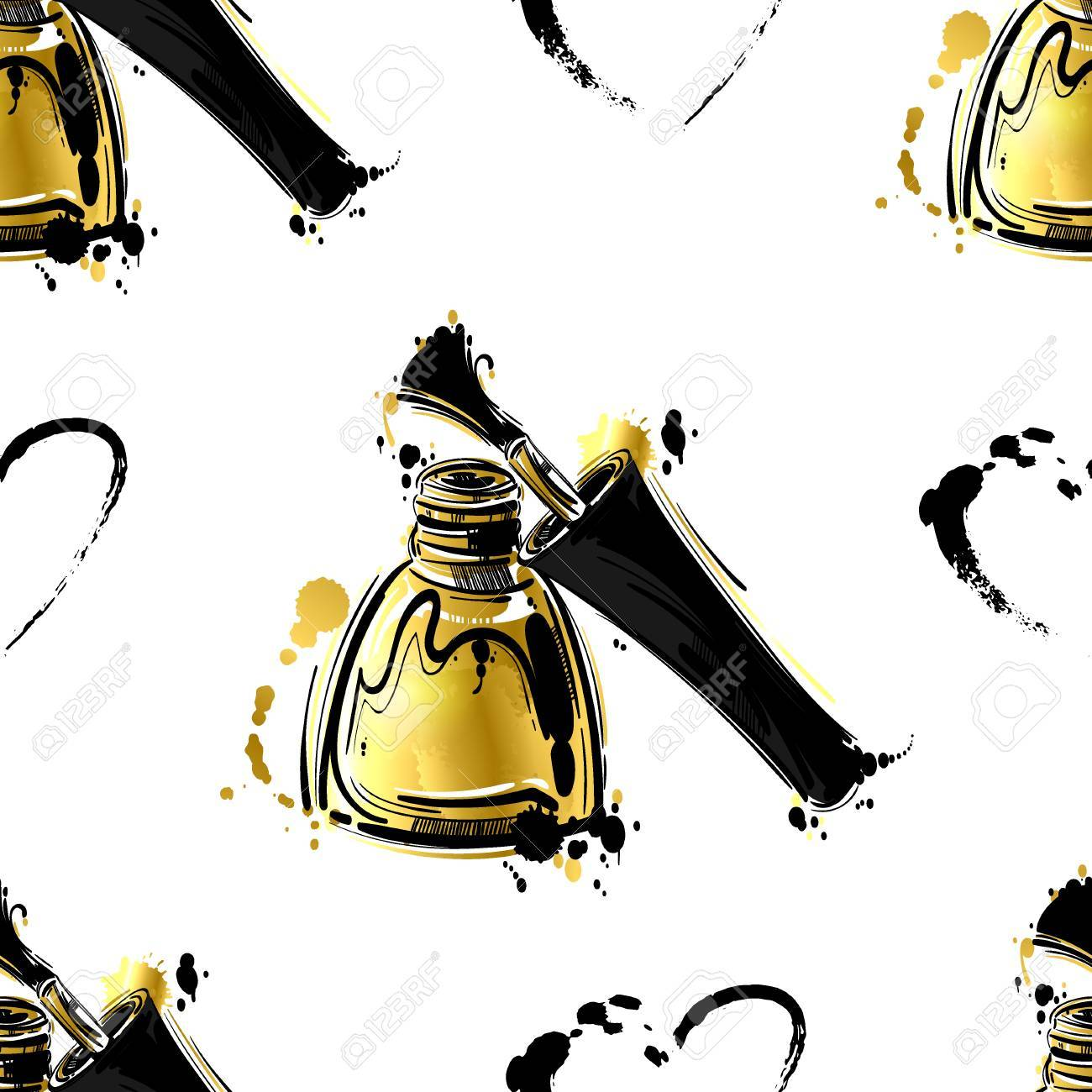 Seamless vector pattern with gold nail polish. Abstract background for design of fabric, wallpaper