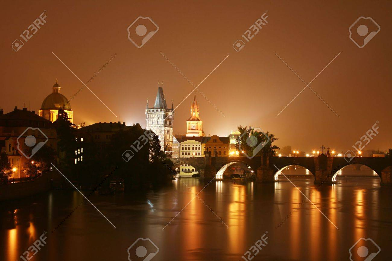 Prague at night. Czech Republic Stock Photo - 5582337
